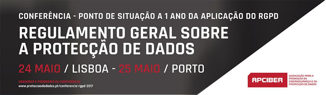 Banner da Conferência - Contagem Decrescente para a Aplicação do RGPD - 24 e 25 de Maio de 2017