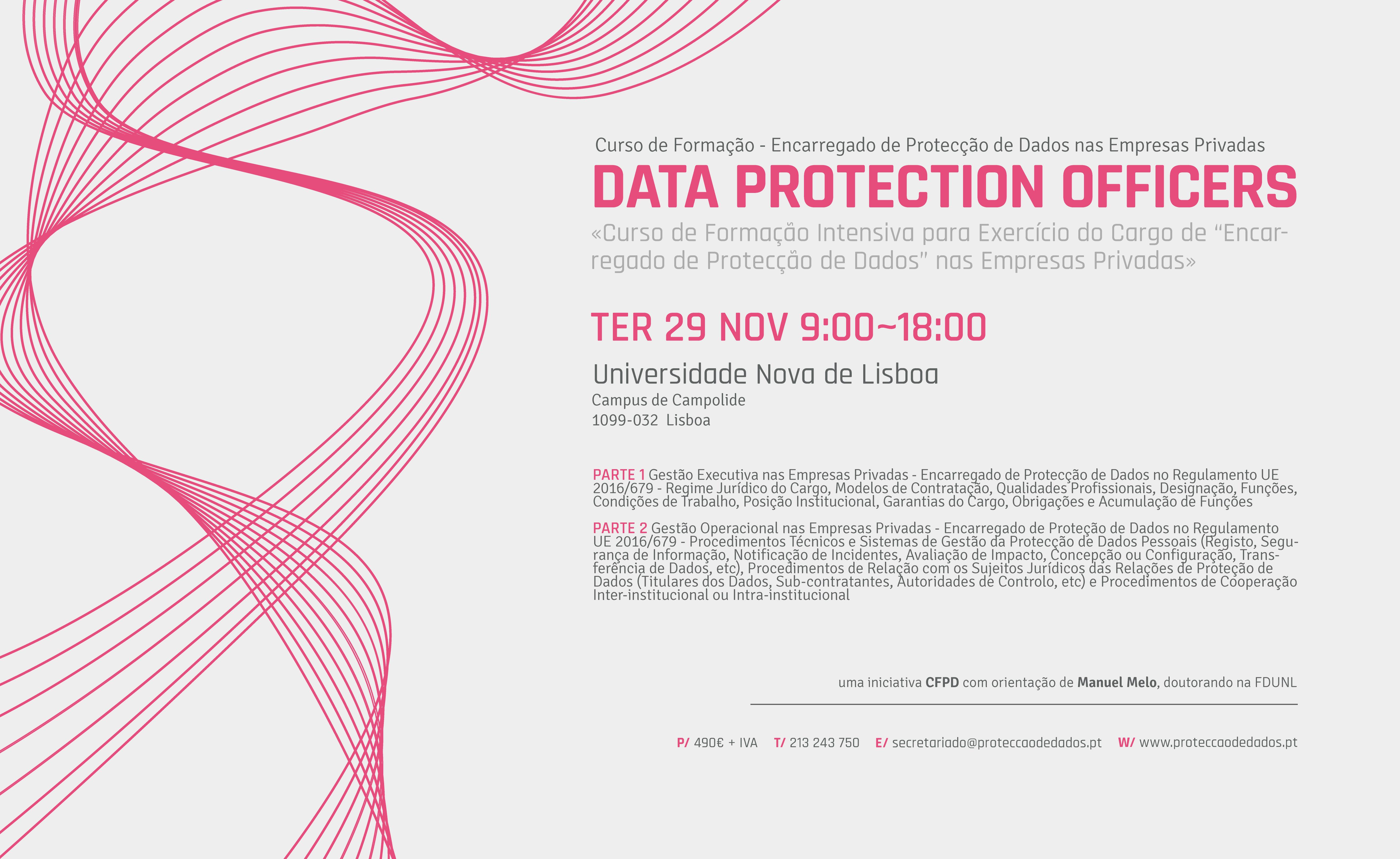 I Curso de Formação Intensiva - «Encarregado de Protecção de Dados nas Empresas Privadas»