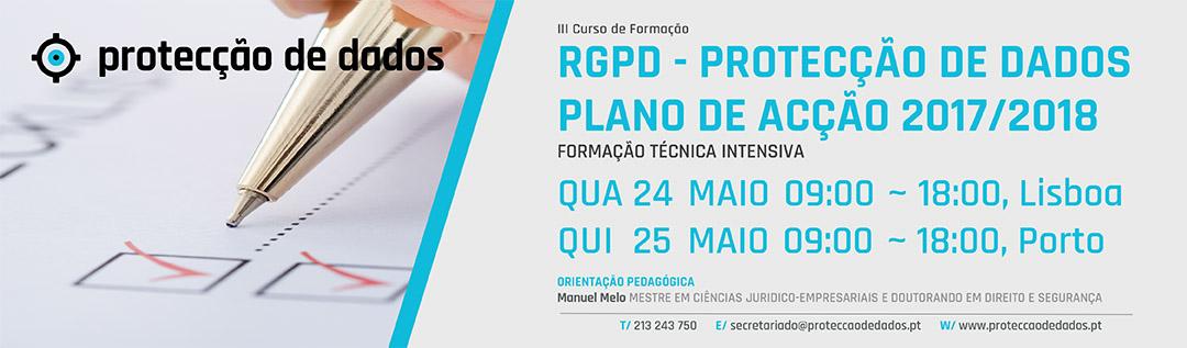 Banner do III Curso Plano de Acção RGPD - 24 e 25 de Maio de 2017