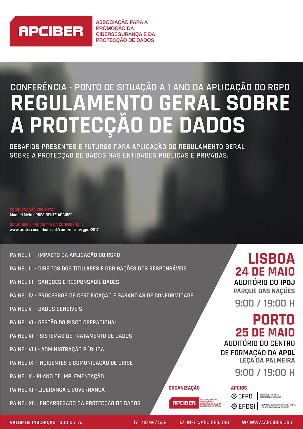 Cartaz da Conferência - Contagem Decrescente para a Aplicação do RGPD - 24 e 25 de Maio de 2017