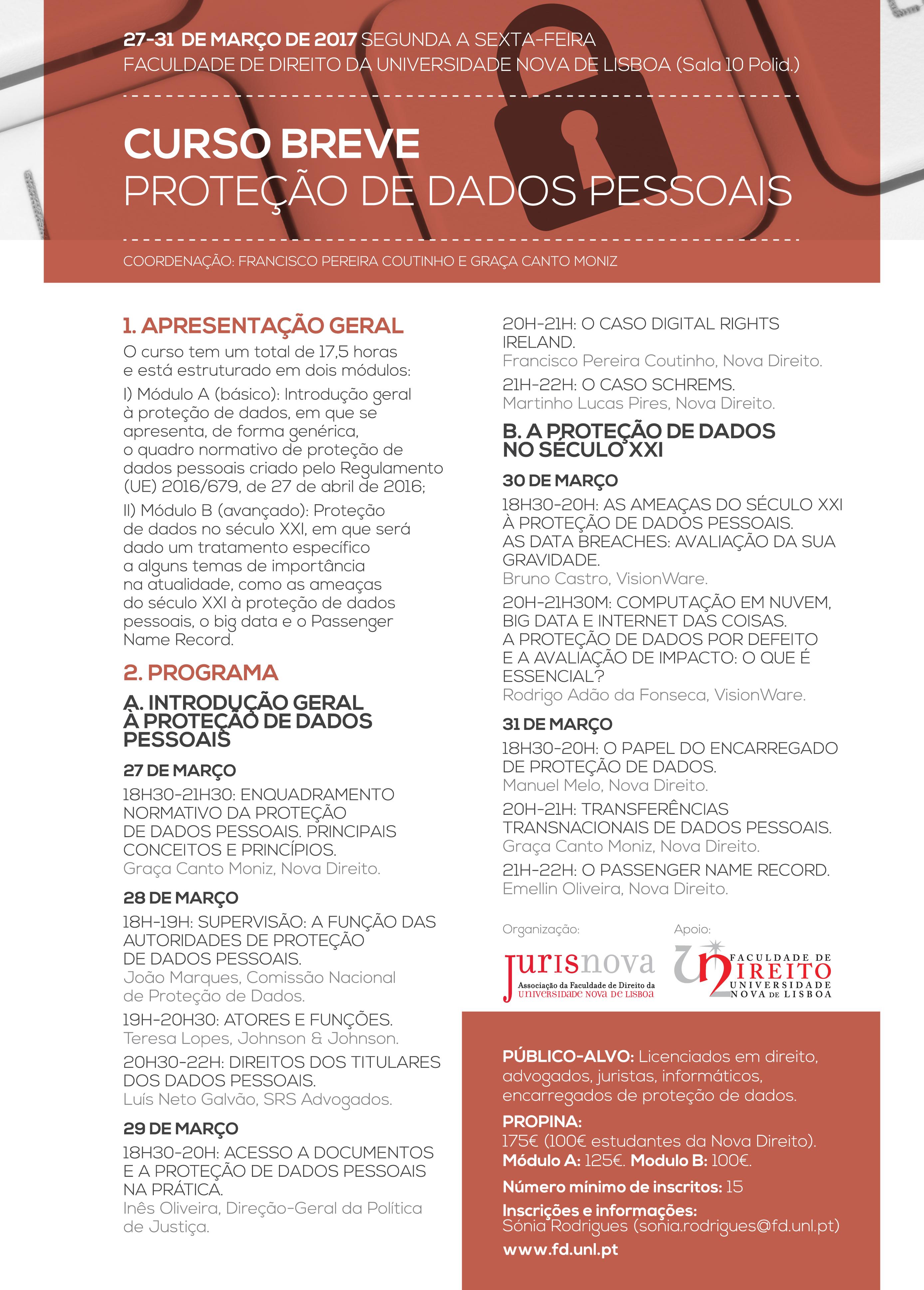 Curso Breve Protecção de Dados - FDUNL / Jurisnova