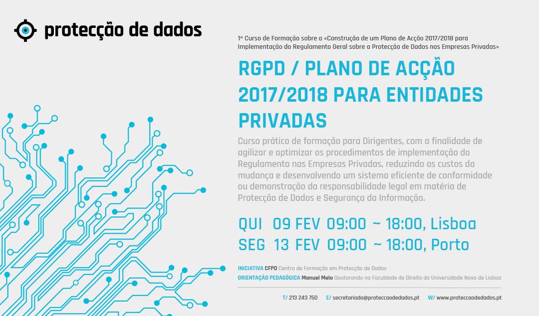 I Curso de Formação - «RGPD / Plano de Acção 2017/2018 para Entidades Privadas»