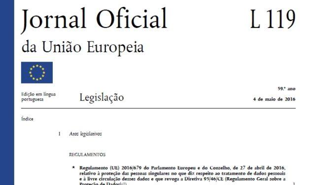 Regulamento UE 2016/679, de 27 de Abril de 2016
