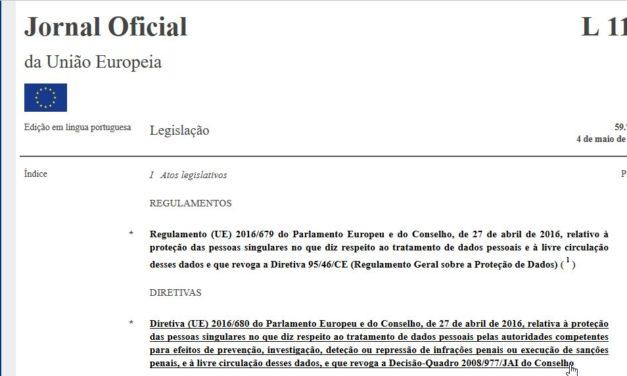 Directiva UE 2016/680, de 27 de Abril de 2016
