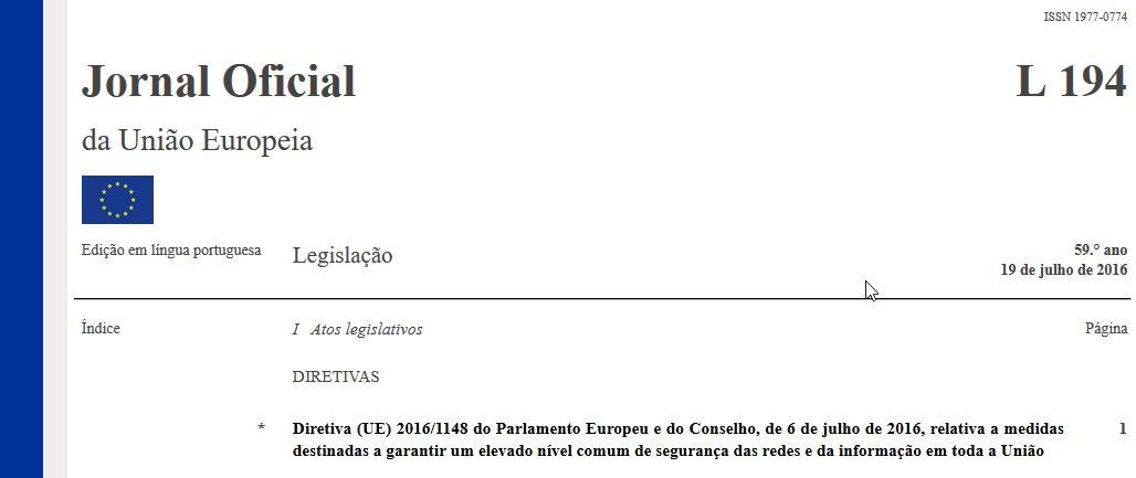 Directiva (UE) 2016/1148 - Directiva Cibersegurança