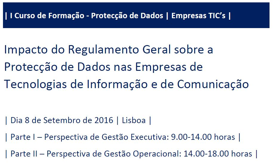 Curso Protecção de Dados e Empresas TIC - Geral
