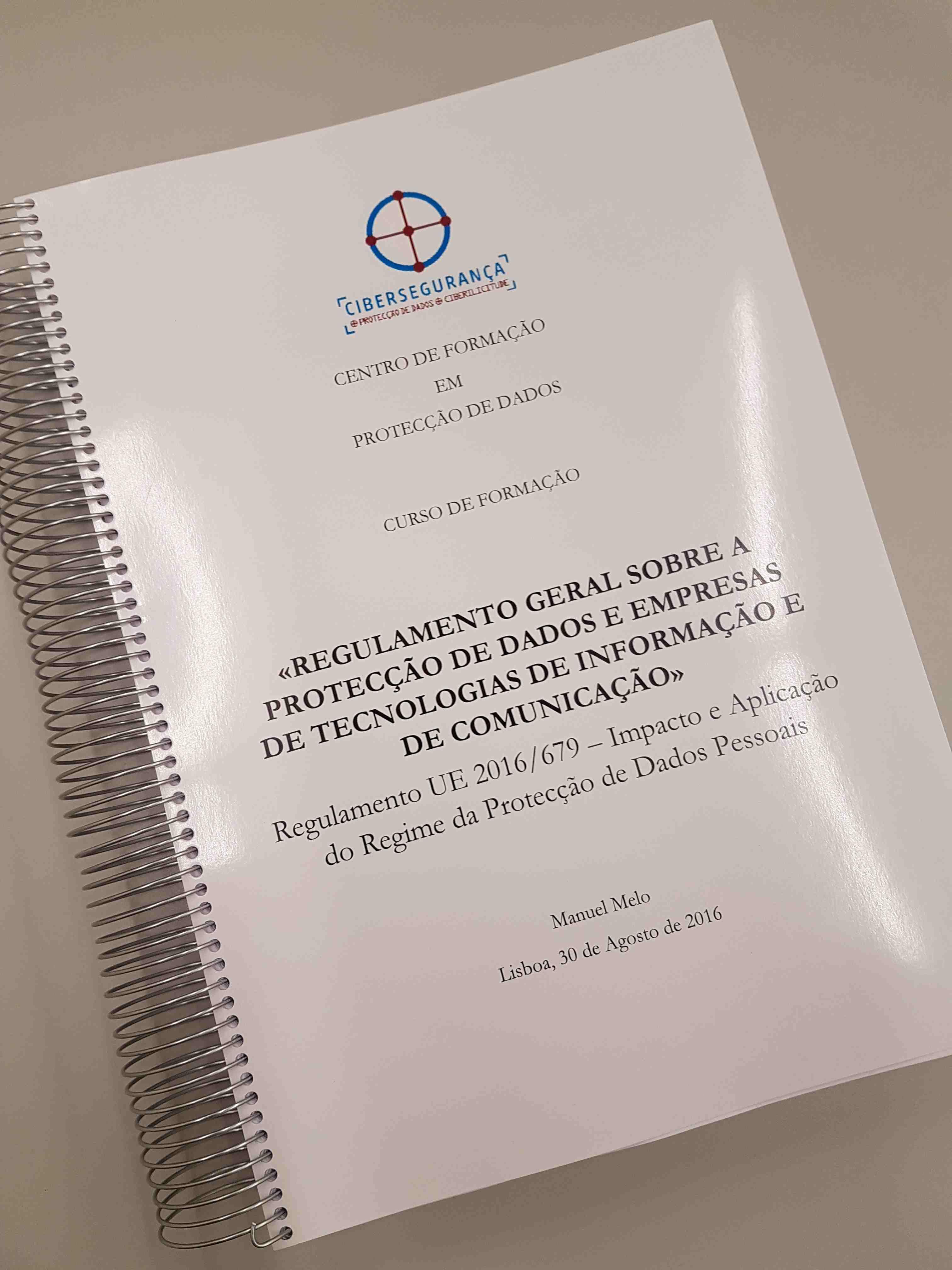 Manual do Curso Regulamento Protecção de Dados e Empresas de Tecnologias de Informação e da ComunicaçãoTICs