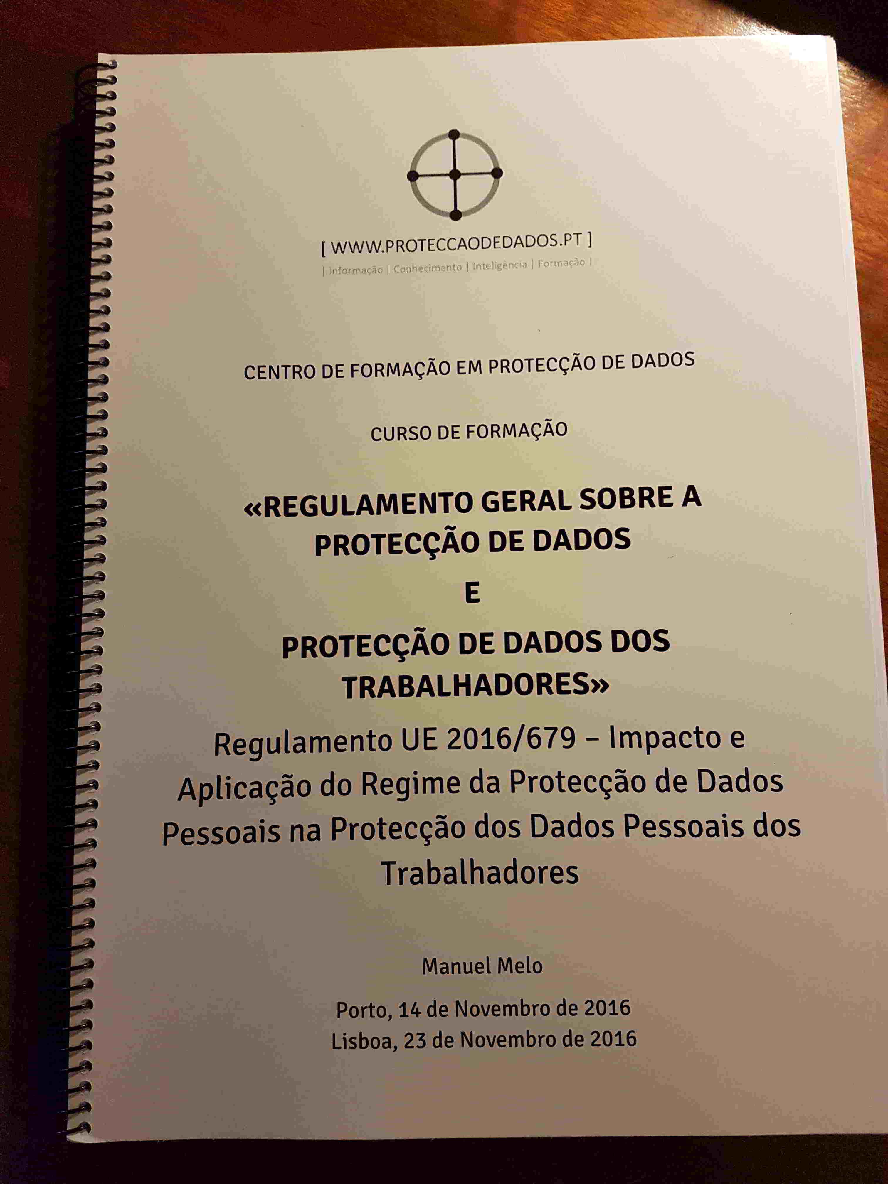 Manual do Curso – «Regulamento Geral sobre a Protecção de Dados em Contexto Laboral»