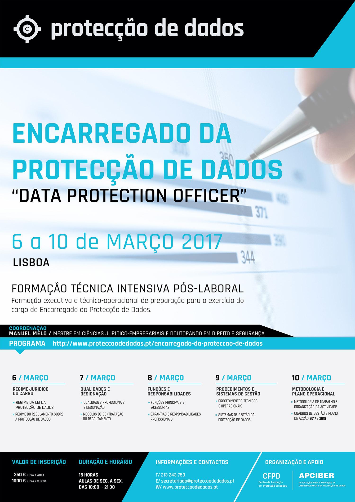 Curso de Formação EPD - Encarregado da Protecção de Dados - Agenda do Curso