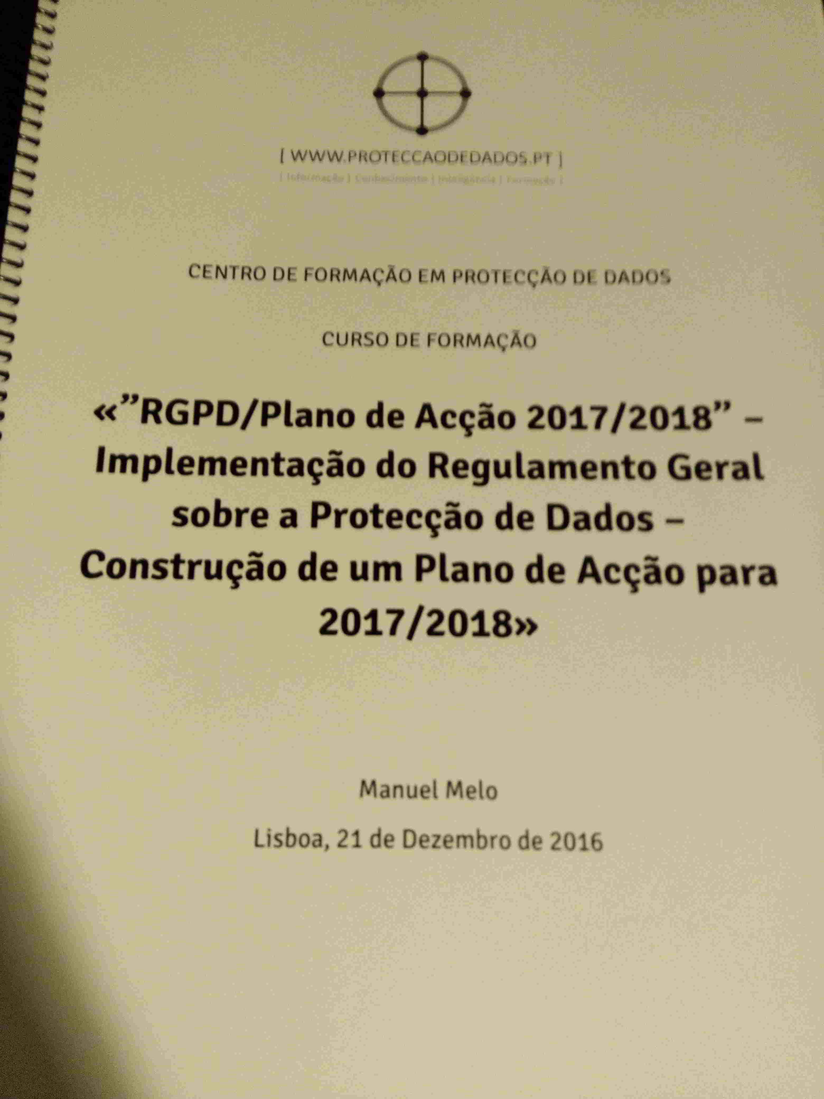 Manual do Curso «Protecção de Dados para 2017/2018 – Construção de um Plano de Acção»