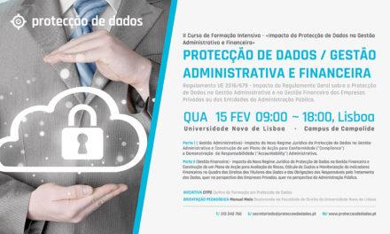 II Curso de Formação Intensiva – «Impacto da Protecção de Dados na Gestão Administrativa e Financeira»