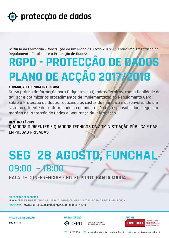 IV Curso de Formação - «RGPD / Protecção de Dados - Plano de Acção 2017/2018 para Entidades Privadas»