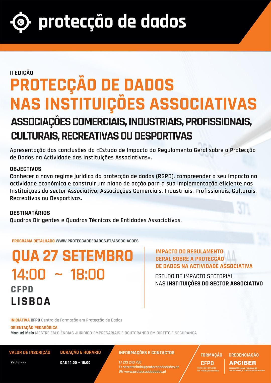 Dia 27 de Setembro/2017 - Lisboa - Curso - Estudo de Impacto Sectorial - «Protecção de Dados no Sector Associativo» - Impacto do RGPD nas Entidades Associativas