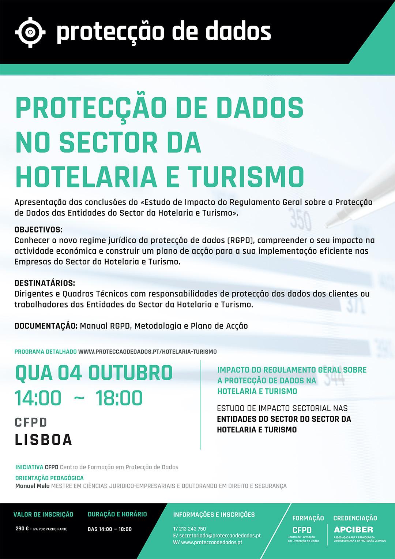 Dia 4 de Outubro/2017 - Lisboa - Curso - Estudo de Impacto Sectorial - «Protecção de Dados na Hotelaria e Turismo» - Impacto do RGPD nas Entidades do Sector Hoteleiro e do TurismoAssociativas