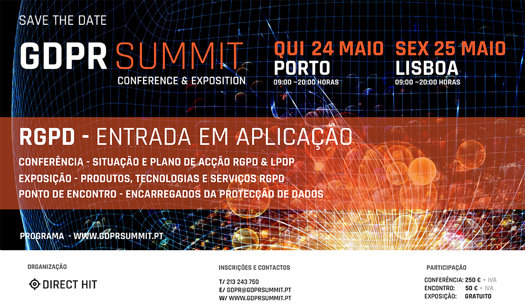 GDPR Summit Portugal - Reservar as Datas de 24 e 25 de Maio de 2018